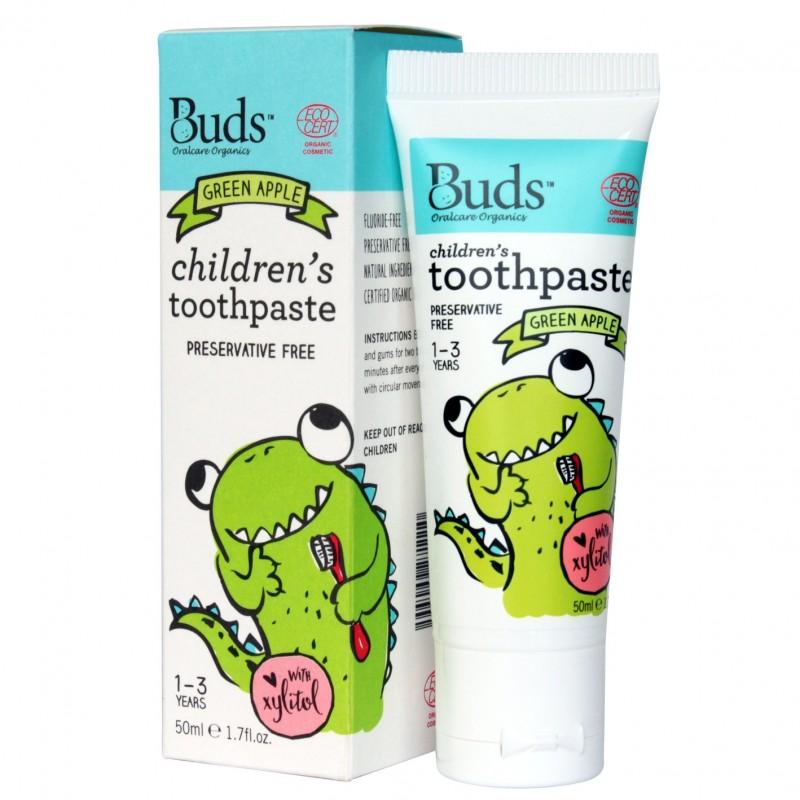 芽芽有機幼童含木糖醇牙膏 1-3歲 (青蘋果味) BUDS ORGANICS CHILDREN'S TOOTHPASTE WITH XYLITOL 1-3 YRS OLD (Green Apple)