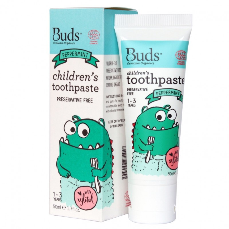 芽芽有機幼童含木糖醇牙膏 1-3歲 (薄荷味) BUDS ORGANICS CHILDREN'S TOOTHPASTE WITH Xylitol 1-3 YRS OLD (Peppermint)