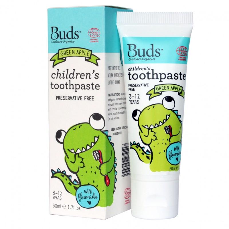 芽芽有機兒童含氟化物牙膏 3-12歲 (青蘋果味) BUDS ORGANICS CHILDREN'S TOOTHPASTE WITH FLUORIDE 3-12 YRS OLD (Green Apple)
