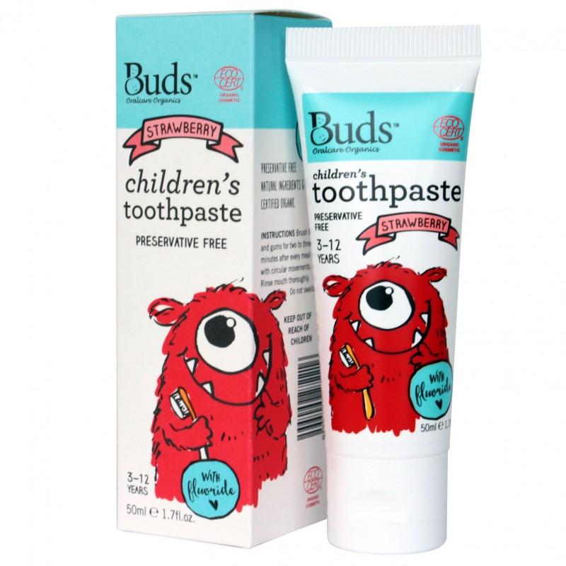 芽芽有機兒童含氟化物牙膏 3-12歲 (草莓味) BUDS ORGANICS CHILDREN'S TOOTHPASTE WITH FLUORIDE 3-12 YRS OLD (Strawberry)
