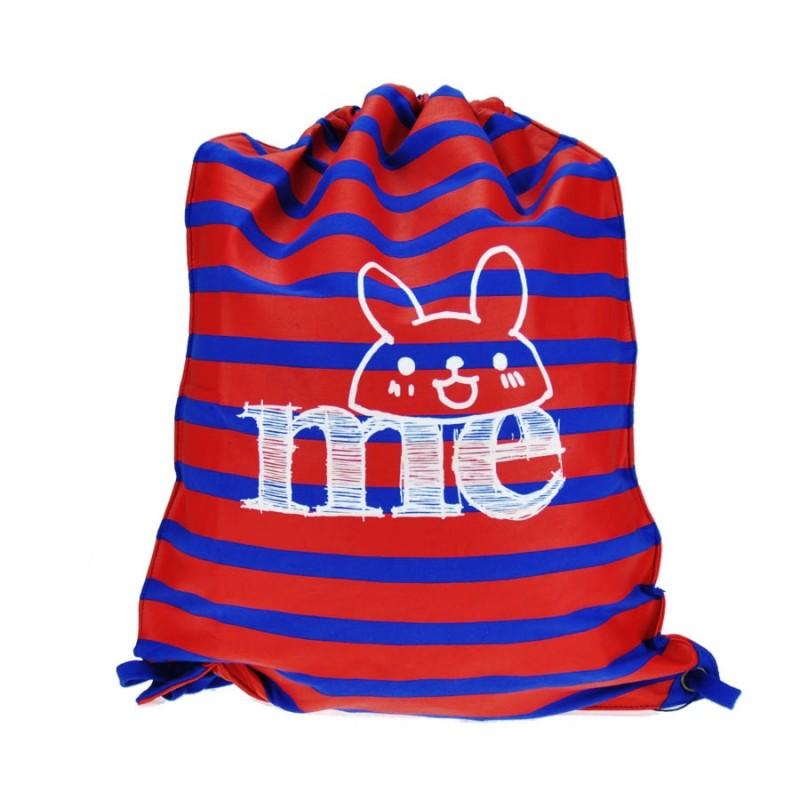 """Together """"Me"""" Drawstring Bag Red with Blue Strip 索繩紅色藍橫間輕巧背包 (2172RB)"""