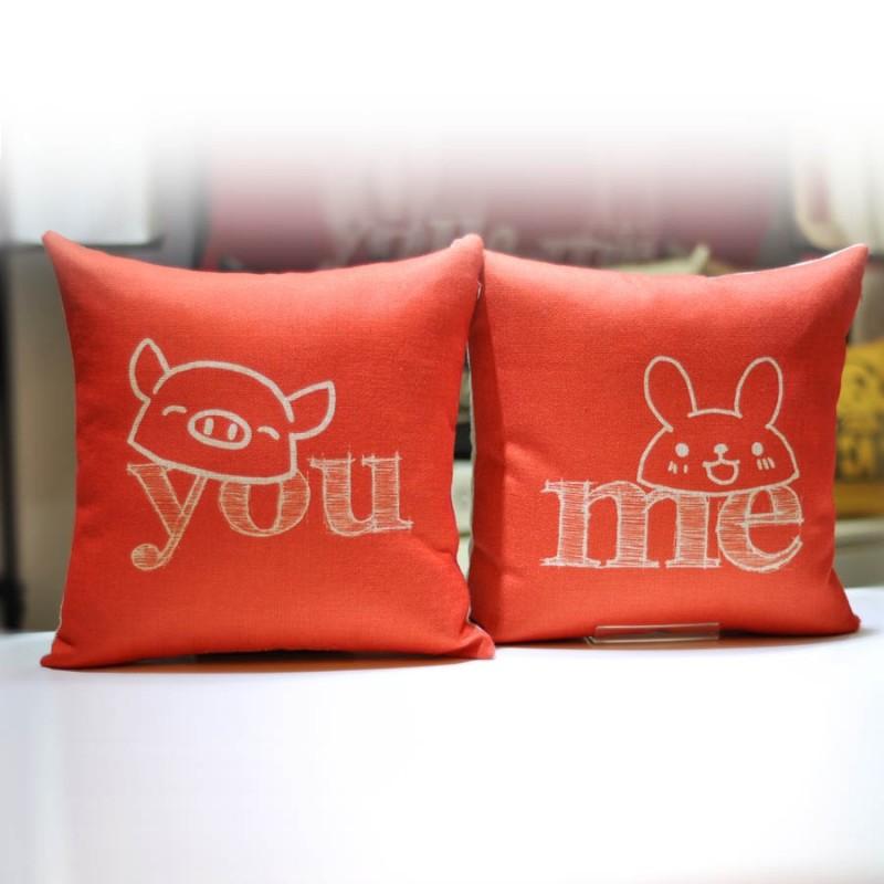 """Together """"YOU"""" """"ME"""" Cushion Orange Colour (302154OG / 302155OG)"""
