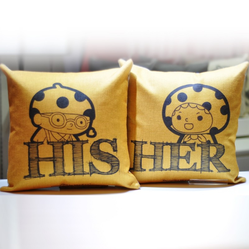 """Together """"HIS"""" """"HER"""" Cushion Yellow Colour (302156Y / 302157Y)"""