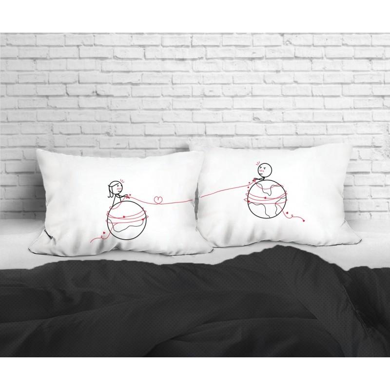"""Human Touch """"Mars & Venus"""" Set / 2 Couple Pillow Case (3HT04-116)"""