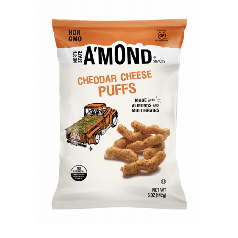 "美國無麩質車打芝士杏仁脆條""NORTH STATE A'MOND SNACKS A'MOND SNACKS"" CHEDDAR CHEESE SNACKS PUFFS WITH ALMONDS&MULTI GRAINS"