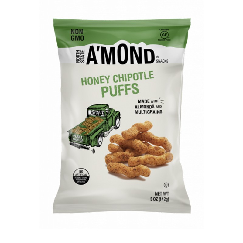 "美國無麩質蜜糖杏仁脆條""NORTH STATE A'MOND SNACKS"" HONEY CHIPOTLE SNACKS PUFFS WITH ALMONDS&MULTI GRAINS"