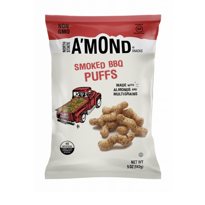 "美國無麩質煙燻燒烤杏仁脆條""NORTH STATE A'MOND SNACKS"" SMOKED BBQ SNACKS PUFFS WITH ALMONDS&MULTI GRAINS"