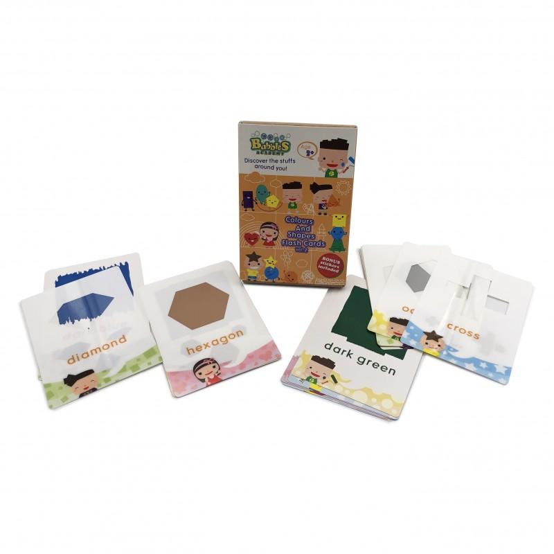 泡泡學園課外教材 (顏色與形狀) 英文學習卡 - 冊2 Bubbles Academy - Discovery the stuffs around you! (Colours and Shapes) Flash Card Vol.2