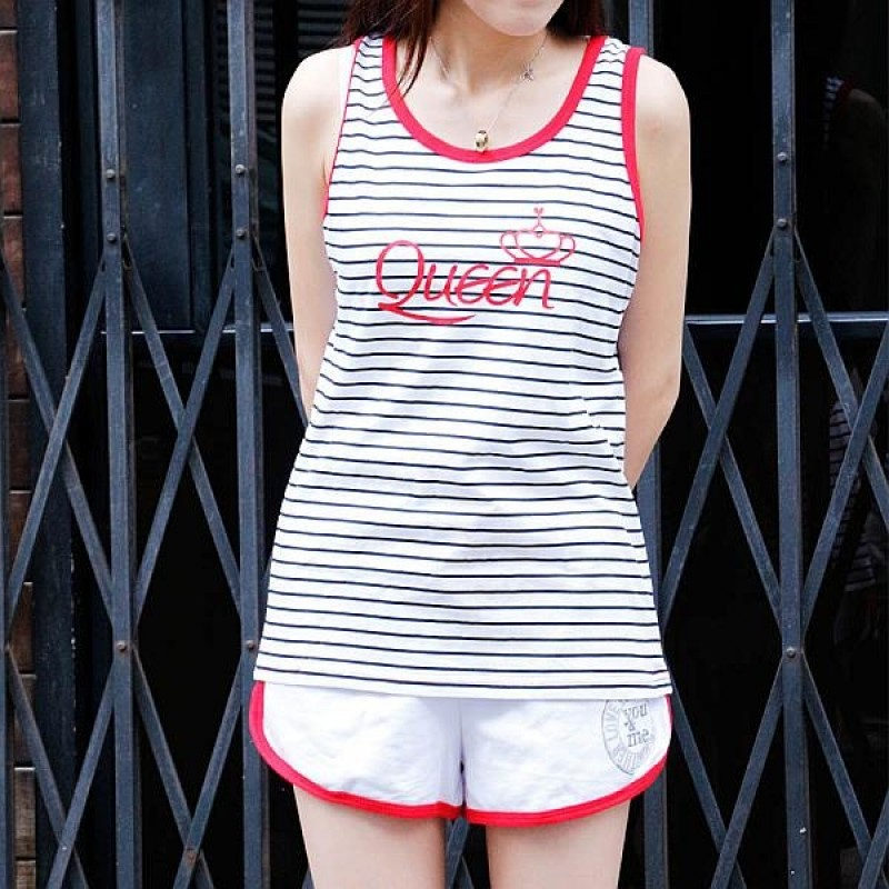"""Together """"Queen"""" White WITH Black STRIP Female Vest (2214MBK)"""