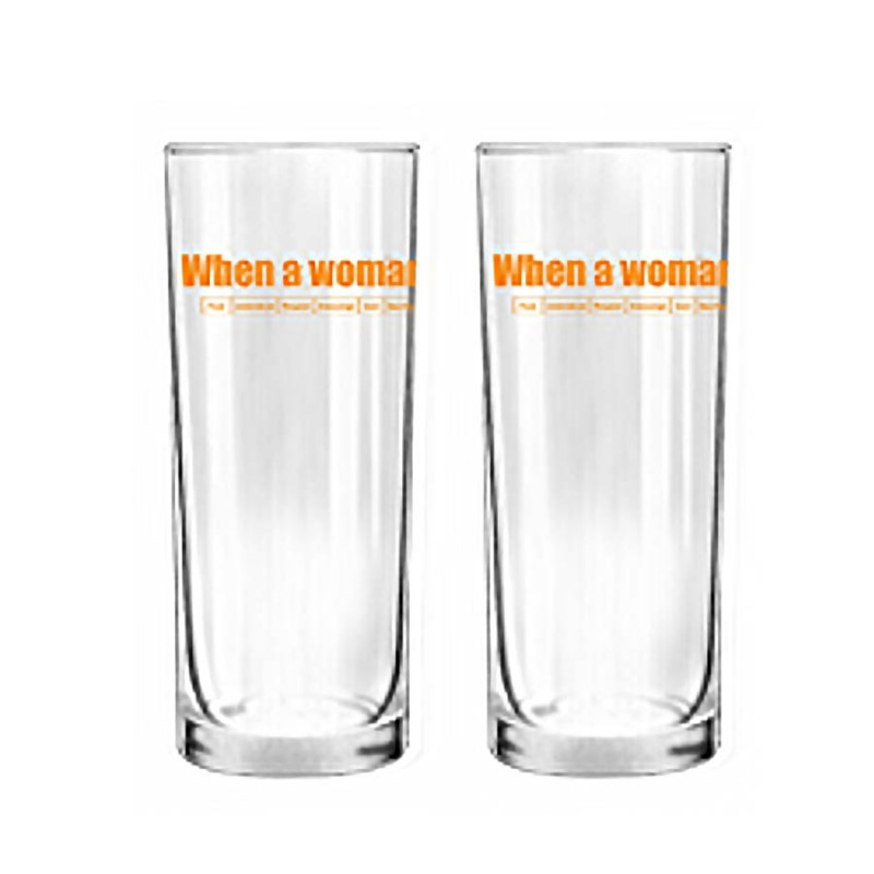"""Human Touch - When We Love """"Orange Letter"""" Set / 2 Glass (GL05-232)"""