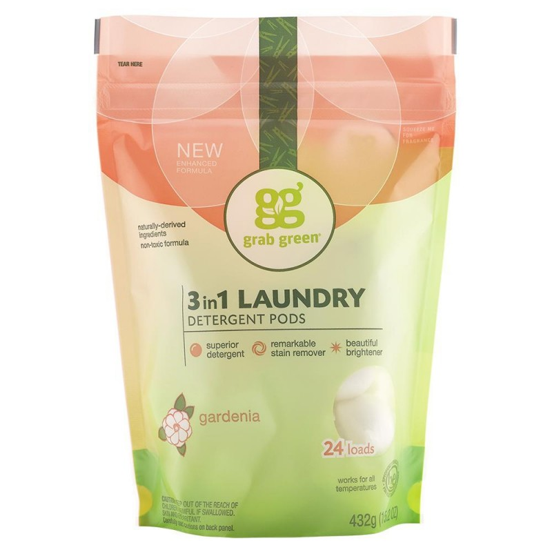 美國經典三合一深層清潔洗衣球 - 梔子花 Grab Green CLASSIC 3-IN-1 LAUNDRY DETERGENT PODS - GARDENIA