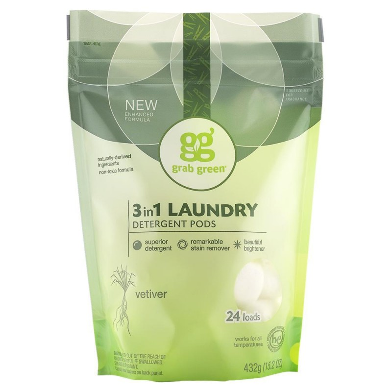 美國經典三合一深層清潔洗衣球 - 岩蘭草 Grab Green CLASSIC 3-IN-1 LAUNDRY DETERGENT PODS - VETIVER
