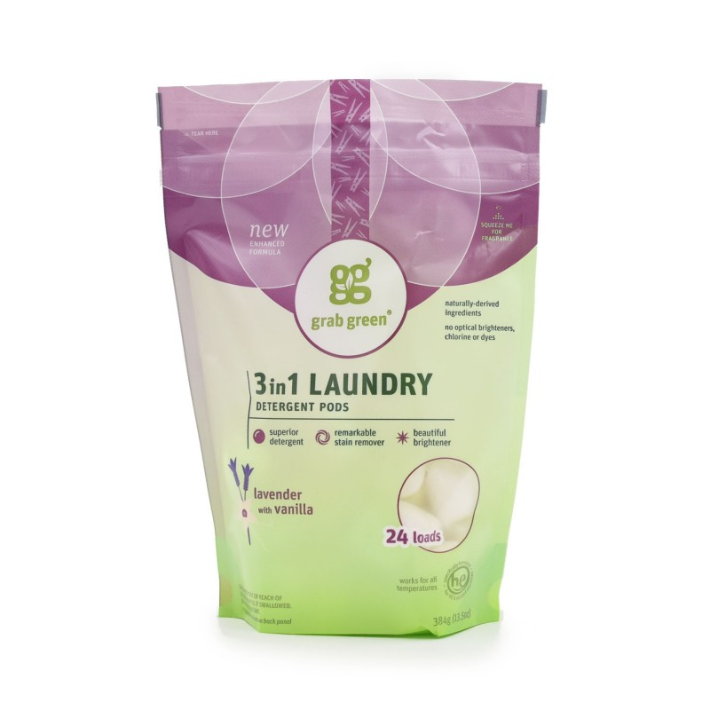 "美國經典三合一深層清潔洗衣球 - 薰衣草雲呢拿""Grab Green""CLASSIC 3-IN-1 LAUNDRY DETERGENT PODS - LAVENDER WITH VANILLA"