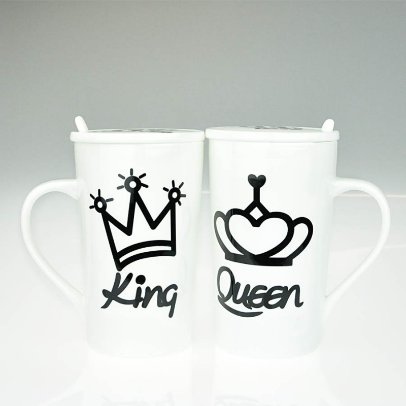 """Together """"King & Queen"""" Set / 2 Mug with Lid and Spoon (MG246519)"""