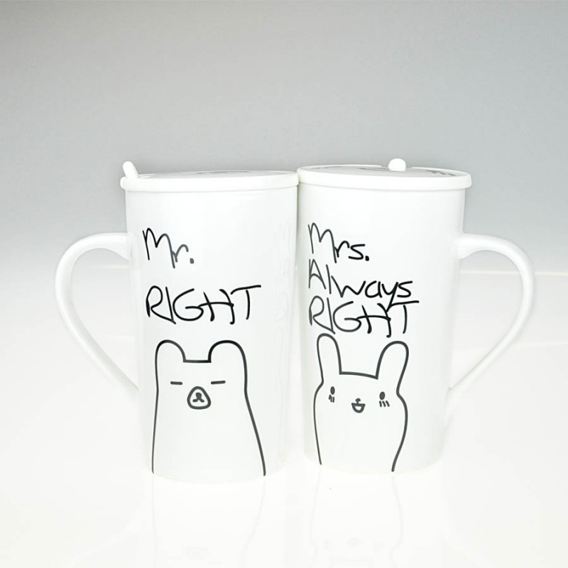 """Together """"Mr & Mrs Right"""" Set / 2 Mug with Lid and Spoon (MG246520)"""