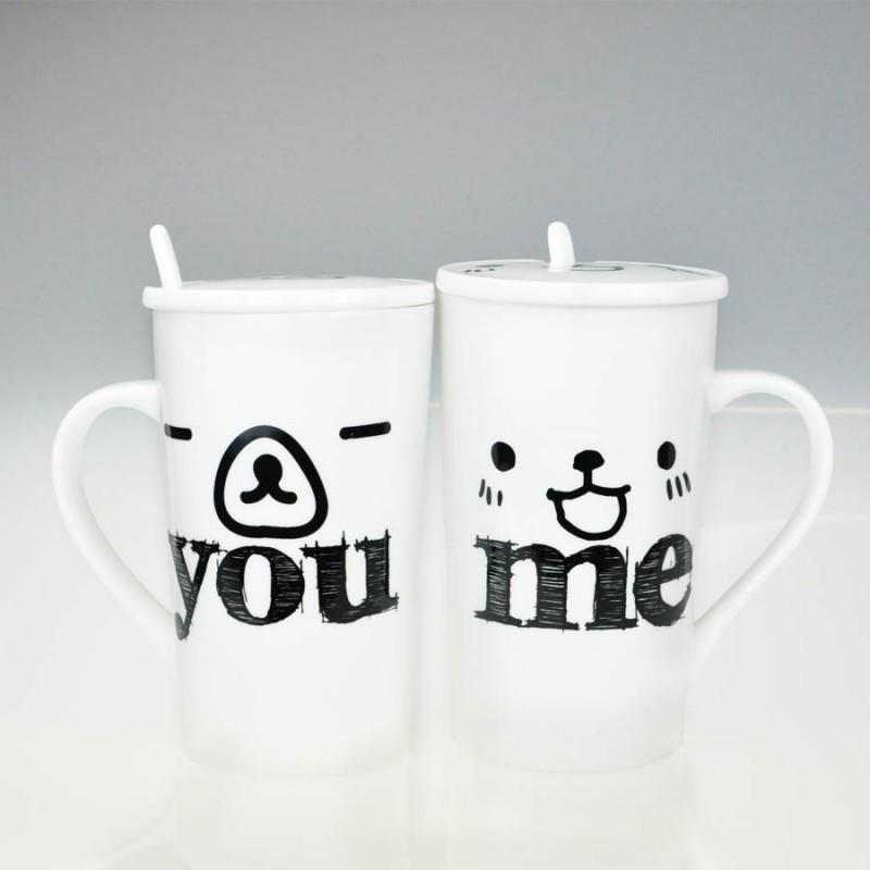 """Together """"You & Me"""" Set / 2 Mug with Lid and Spoon (MG246523)"""
