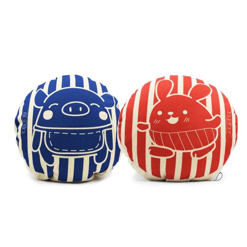 "Together ""Pingi & Tin Tin Stripe"" Circle Cushion (302294BL & 302295R) 一套兩件"
