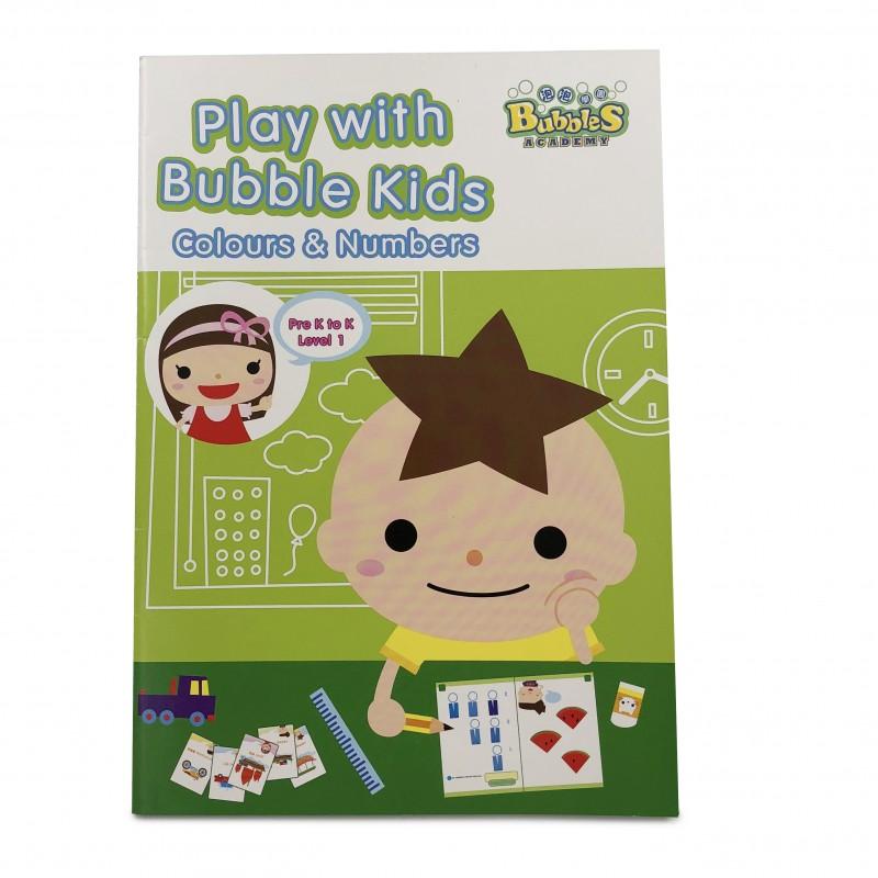 泡泡學園學前教材 (顏色與數字) 學習冊 - 初階 Bubbles Academy - Play with Bubble Kids (Colours and Numbers) Pre K to K Learning Booklet - Level 1