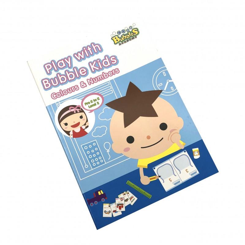 泡泡學園學前教材 (顏色與數字) 學習冊 - 中階 Bubbles Academy - Play with Bubble Kids (Colours and Numbers) Pre K to K Learning Booklet - Level 2