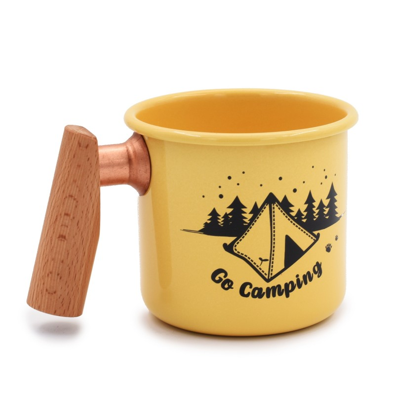 台灣木手柄搪瓷杯 (帳篷-黃色) Truvii Wooden Handle Enamel Mug (Tent-Yellow)