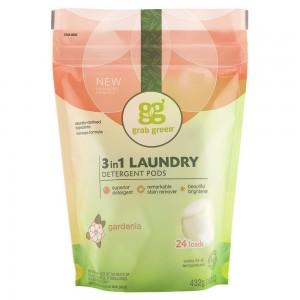 美國經典三合一深層清潔洗衣球 - 梔子花 Grab Green CLASSIC 3-IN-1 LAUNDRY DETERGENT PODS - GARDENIA
