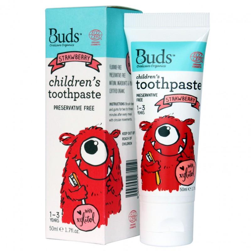 芽芽有機幼童含木糖醇牙膏 1-3歲 (草莓味) BUDS ORGANICS CHILDREN'S TOOTHPASTE WITH XYLITOL 1-3 YRS OLD (Strawberry)