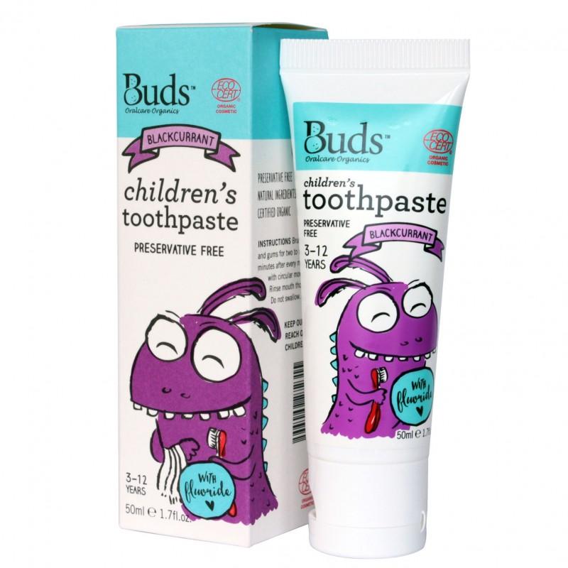 芽芽有機兒童含氟化物牙膏 3-12歲 (黑加侖子味) BUDS ORGANICS CHILDREN'S TOOTHPASTE WITH FLUORIDE 3-12 YRS OLD (Blackcurrant)