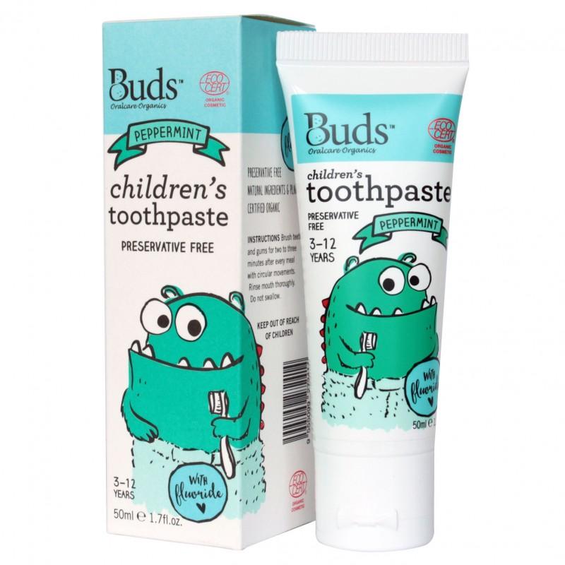 芽芽有機兒童含氟化物牙膏 3-12歲 (薄荷味) Buds Organics Children's Toothpaste With Fluoride 3-12 yrs old (Peppermint)