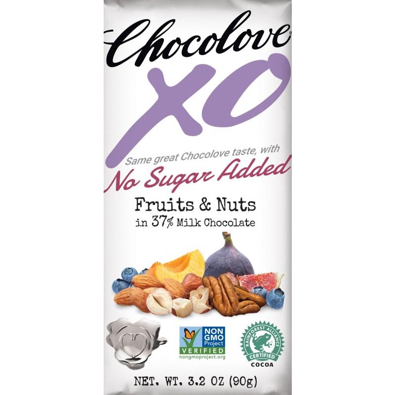"美國40%可可含量無添加糖乾果堅果牛奶朱古力""Chocolove xoxox"" NO SUGAR ADDED 40% COCOA CONTENT FRUITS & NUTS IN MILK CHOCOLATE"
