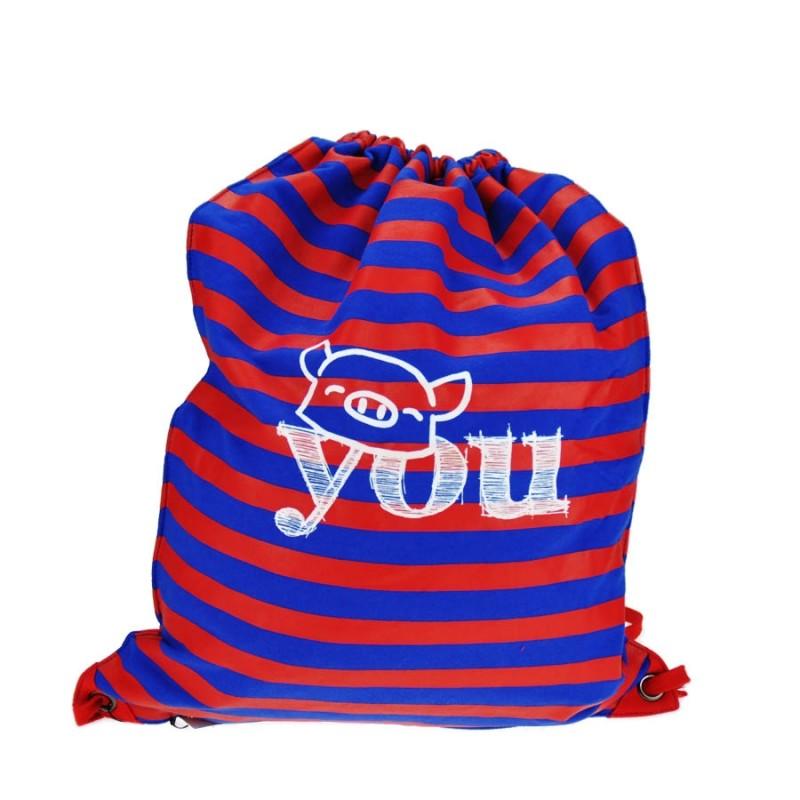 "Together ""You"" Drawstring Bag Blue with Red Strip 索繩藍色紅橫間輕巧背包 (2171RB)"