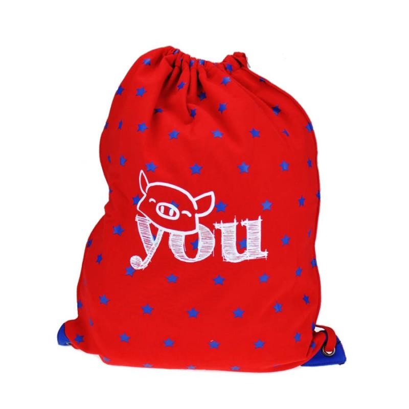 "Together ""You"" Drawstring Bag Red with Blue Star 索繩紅色藍星星輕巧背包 (2173RB)"