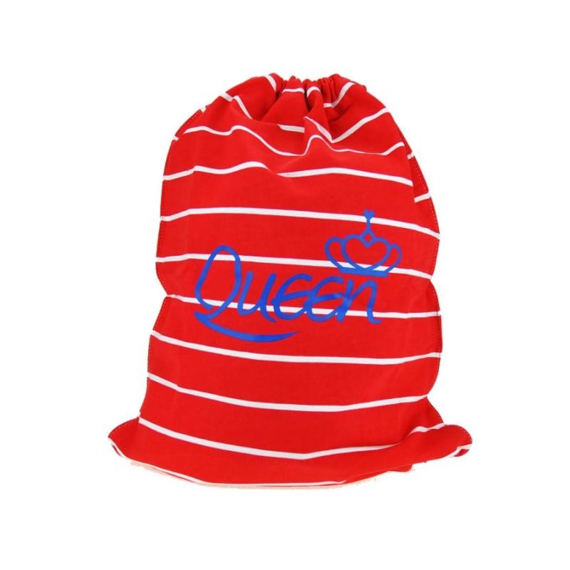 "Together ""Queen"" Drawstring Bag Red with White Strip 索繩紅色白橫間輕巧背包 (2176RW)"