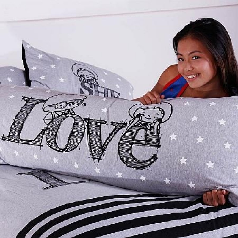 """Together """"Love"""" Long Pillow Case (BSLPW2605GY)"""