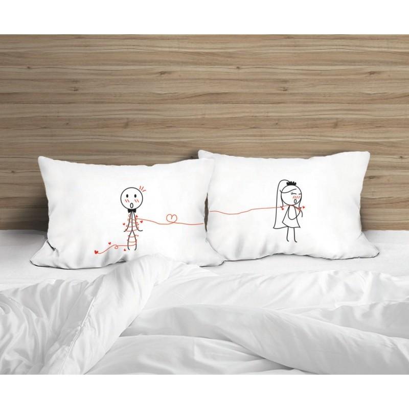 """Human Touch """"Happy Bride"""" Set / 2 Couple Pillow Case (3HT04-115)"""