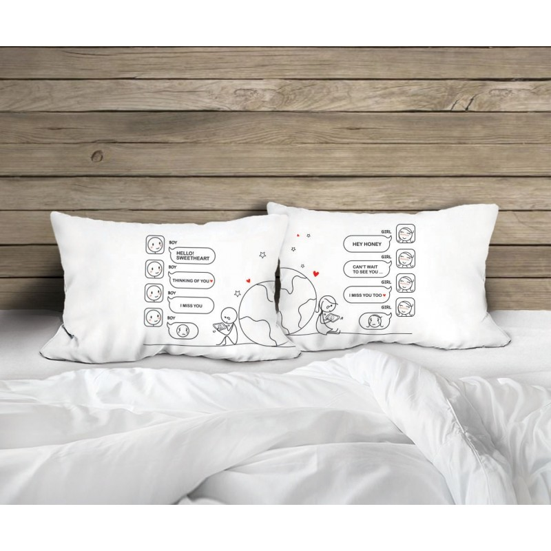"Human Touch ""Texting"" Set / 2 Couple Pillow Case (3HT04-128)"