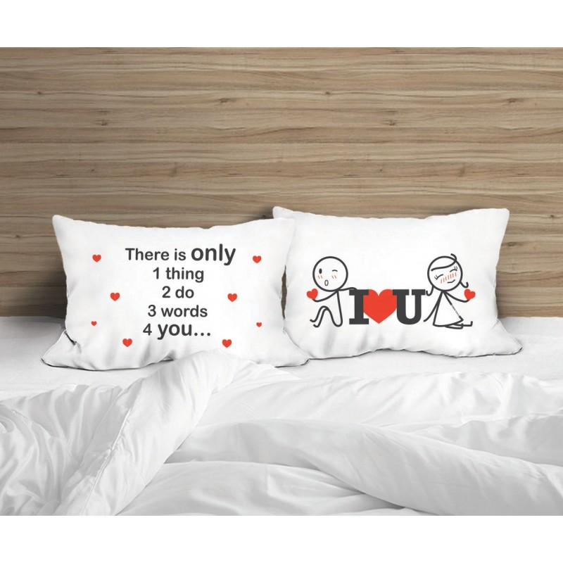"""Human Touch """"Lean On I love you"""" Set / 2 Couple Pillow Case (3HT04-152)"""