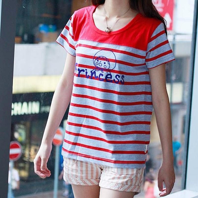 "Together ""Princess"" Grey with Red Strip Tee Shirt 灰紅色間條Tee恤 (2541FG)"