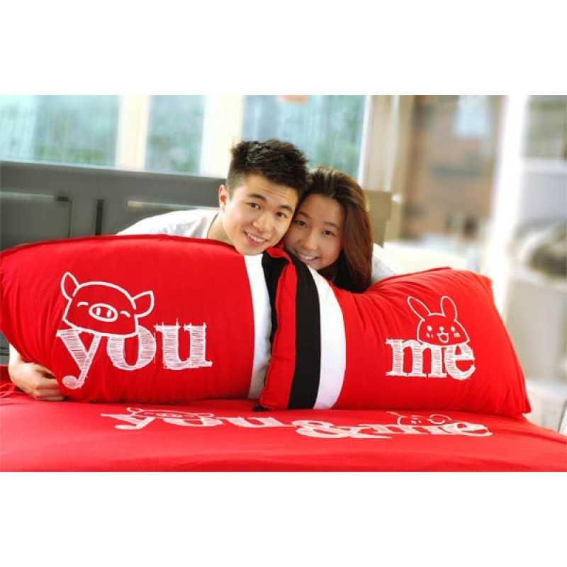 """Together """"You & Me"""" Set / 2 COUPLE Pillow Case (BSPW1204R)"""