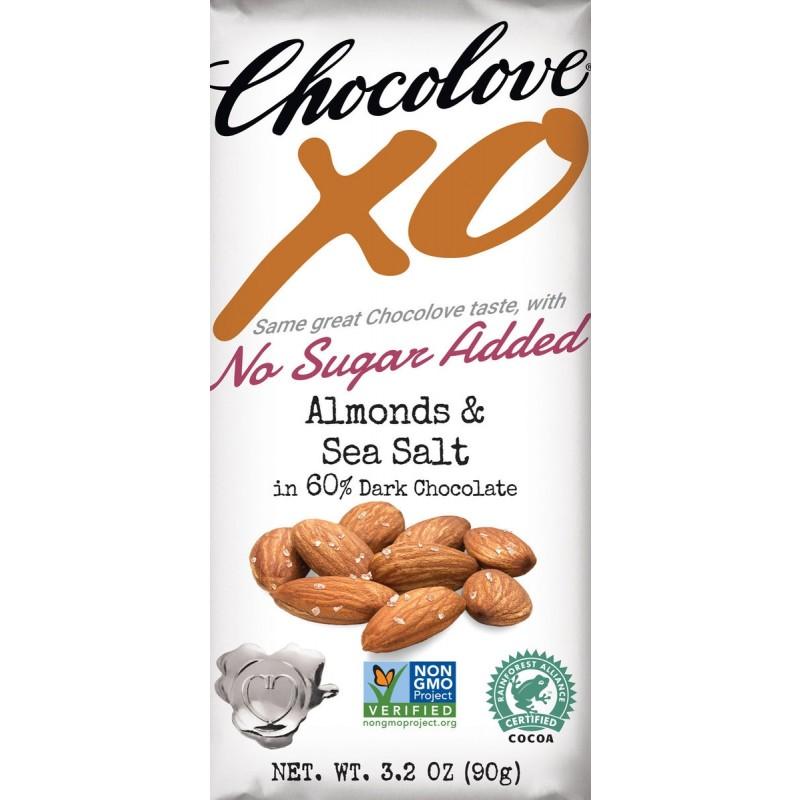 (07/2021) Chocolove xoxox-美國60%可可含量無添加糖海鹽杏仁黑朱古力 NO SUGAR ADDED 60% COCOA CONTENT ALMOND & SEA SALT IN DARK CHOCOLATE  (已過最佳食用日期)