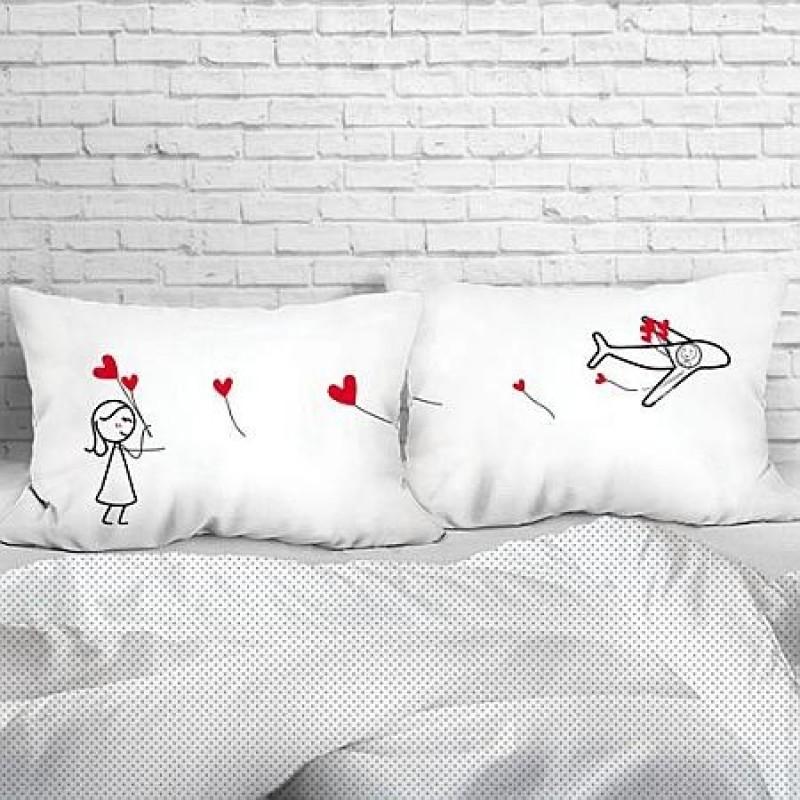 "Human Touch ""Aeroplane II"" Set / 2 Couple Pillow Case (3HT04-146)"