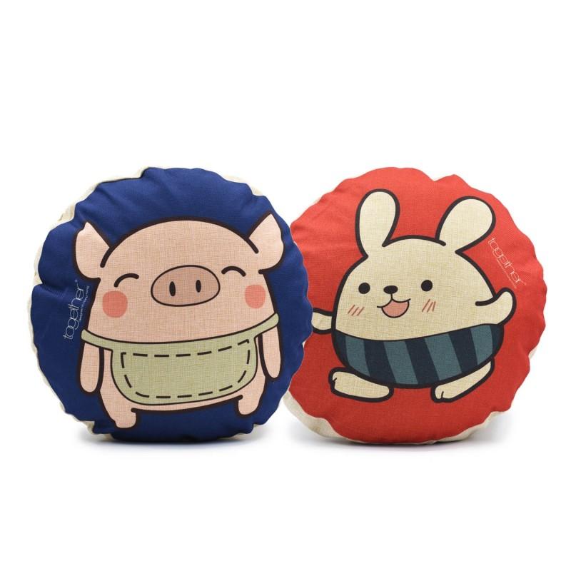"Together ""Pingi & Tin Tin"" Circle Cushion (302292BL & 302293R) 一套兩件"