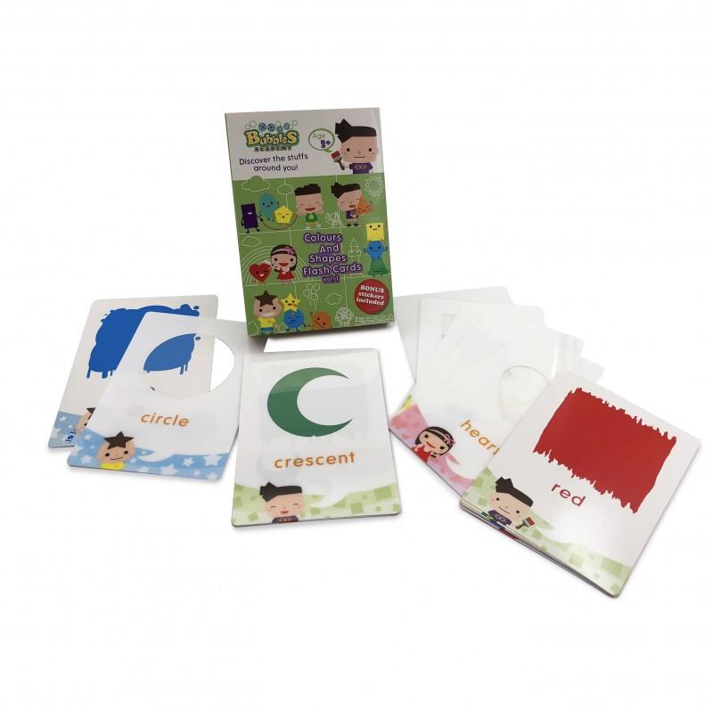 泡泡學園課外教材 (顏色與形狀) 英文學習卡 - 冊1 Bubbles Academy - Discovery the stuffs around you! (Colours and Shapes) Flash Card Vol.1