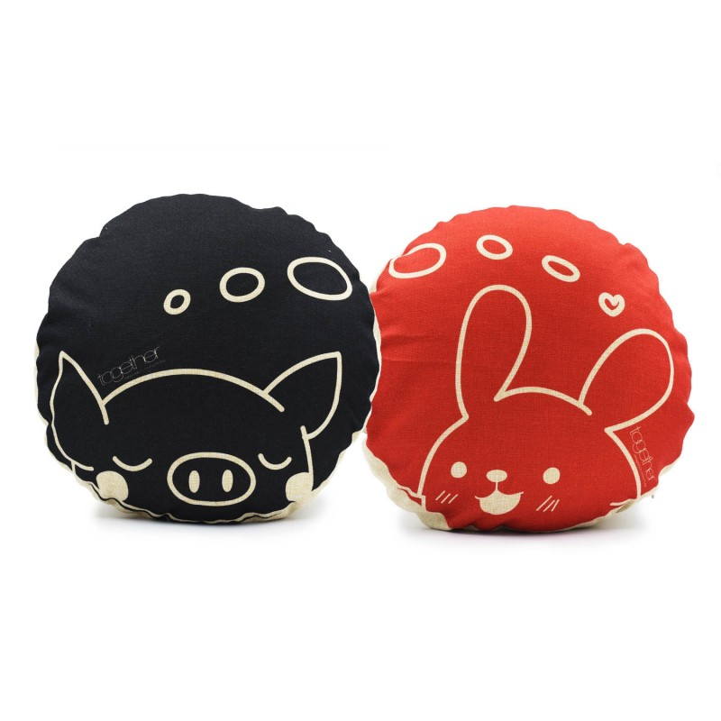 """Together """"Dream Pingi & Tin Tin"""" Circle Cushion (302296BK & 302297R) 一套兩件"""