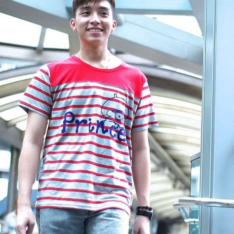 "Together ""Prince"" Grey with Red Strip Tee Shirt 灰紅色間條男裝Tee恤(2540MG)"