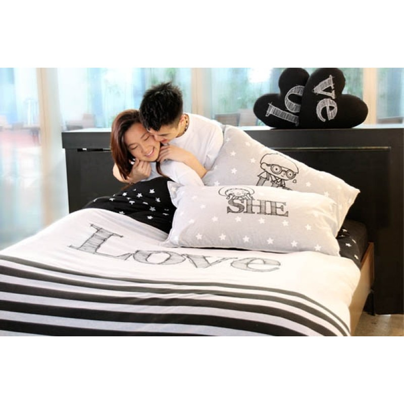 """Together """"He & She"""" Set / 2 Pillow Case (BSPW1203GY)"""