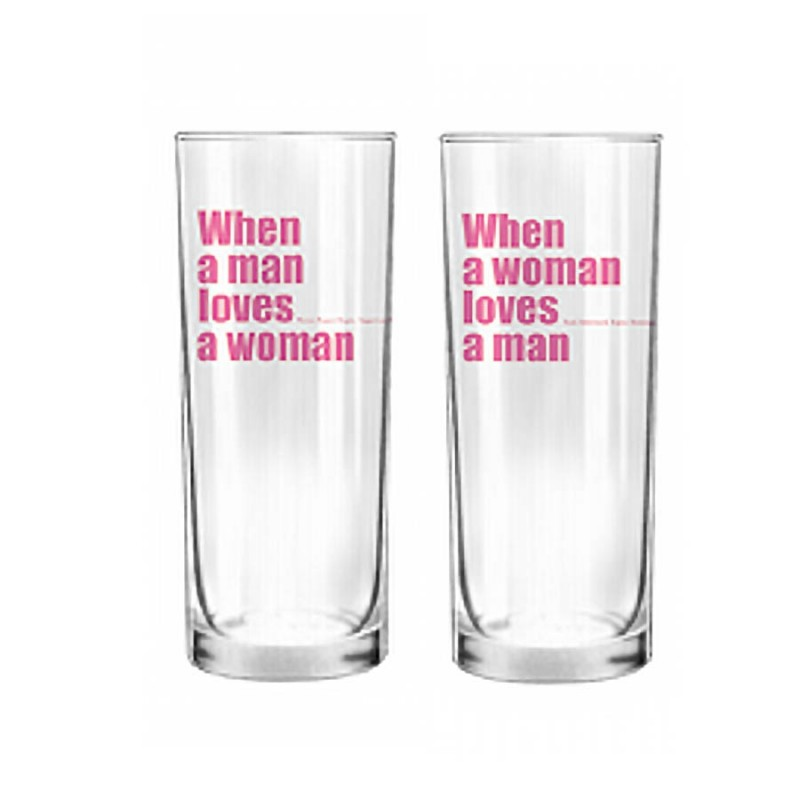 Human Touch When We Love - Pink Letter Set / 2 Glass