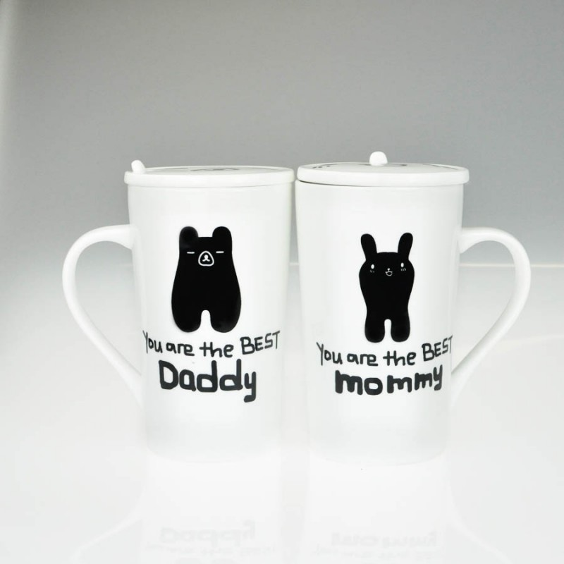 """Together """"Mommy & Daddy"""" Set / 2 Mug with Lid and Spoon (MG246521)"""
