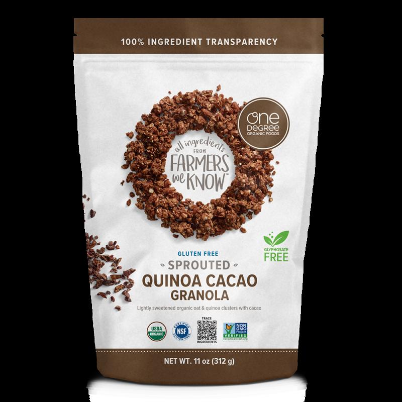 """美國有機發無麩質發芽燕麥可可脆麥片 """"ONE DEGREE"""" ORGANIC FOODS GLUTEN FREE Sprouted Oat Quinoa Cacao Granola"""