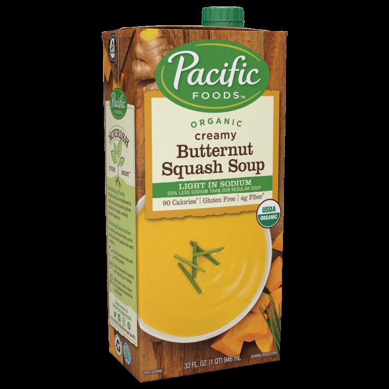 """美國有機低鹽軟滑堅果南瓜湯 """"Pacific Foods"""" ORGANIC CREAMY BUTTERNUT SQUASH SOUP LIGHT IN SODIUM"""